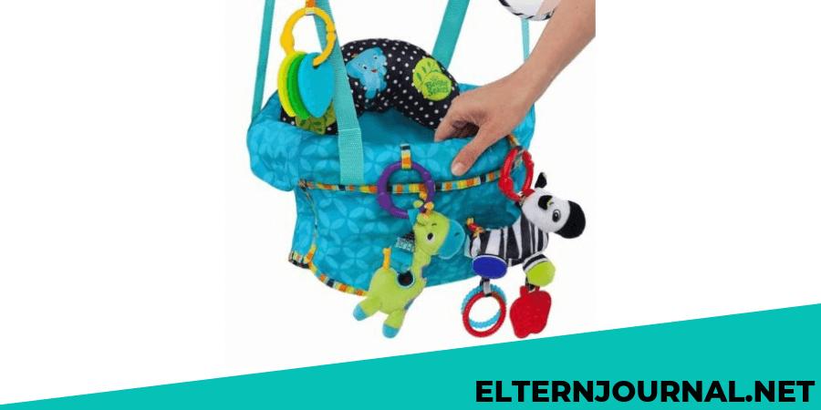 leicht zu transportieren gepolstertem und maschinenwaschbarem Sitz sowie 4 Spielzeugen Bright Starts Deluxe T/ürhopser mit sicherer und stabiler T/ürrahmenklemme